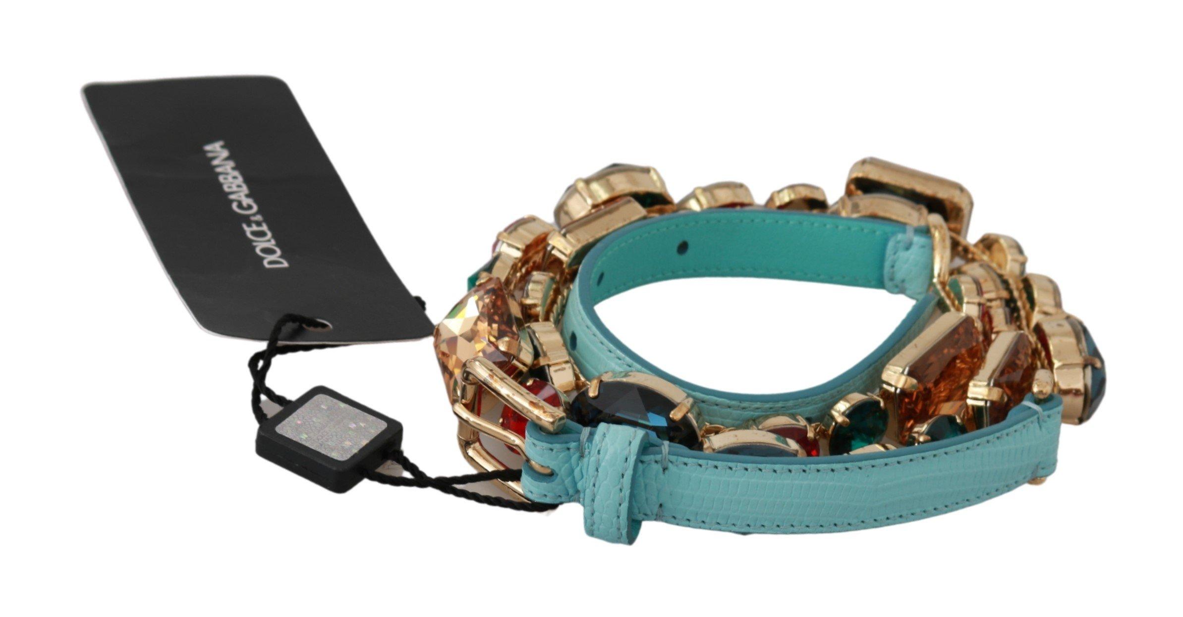 Dolce & Gabbana Women's Leather Crystals Waist Belt Blue BEL60581 - 70 cm / 28 Inches