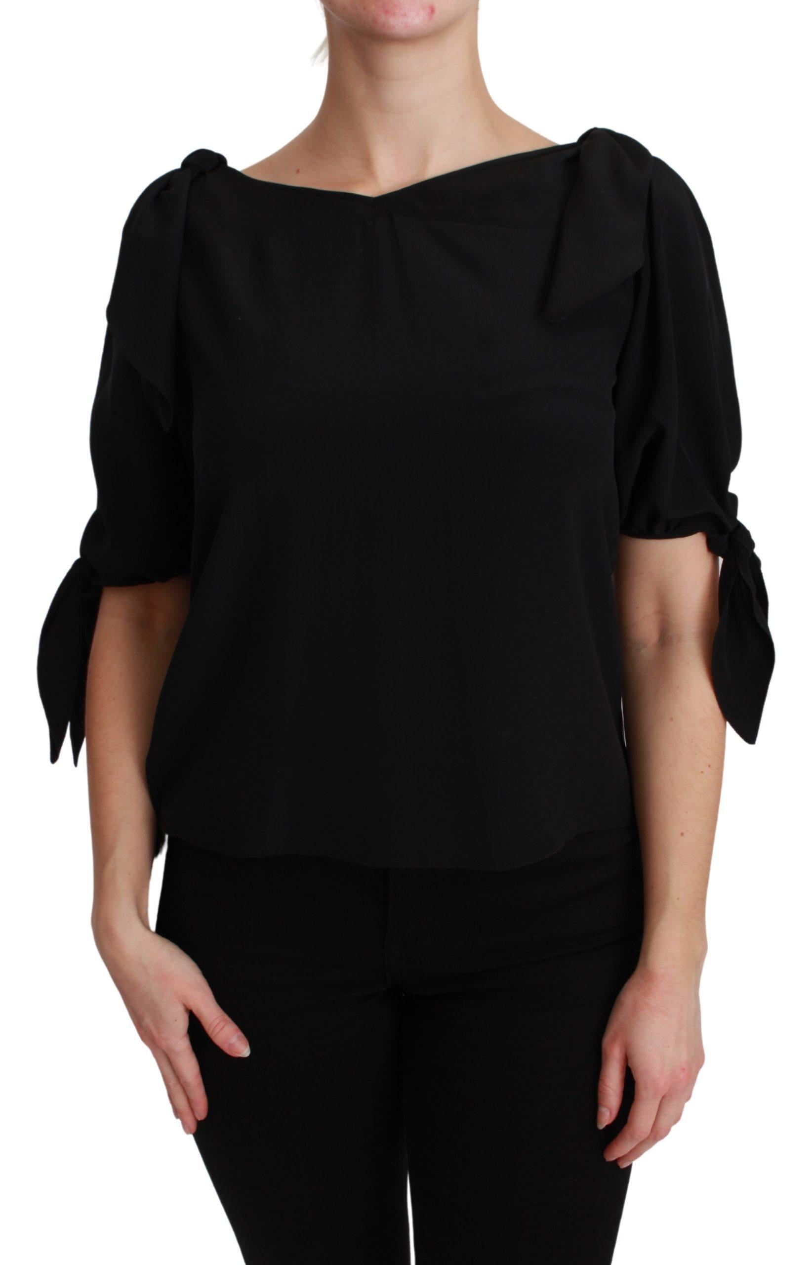 Dolce & Gabbana Women's SS Casual Silk Top Black TSH2689 - IT42|M