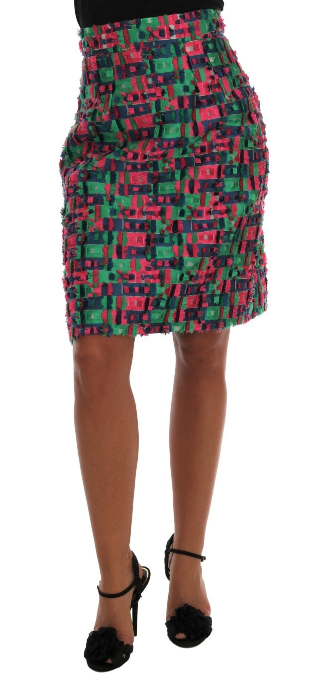 Dolce & Gabbana Women's Jacquard Pencil Skirt Multicolor SKI1032 - IT38 XS