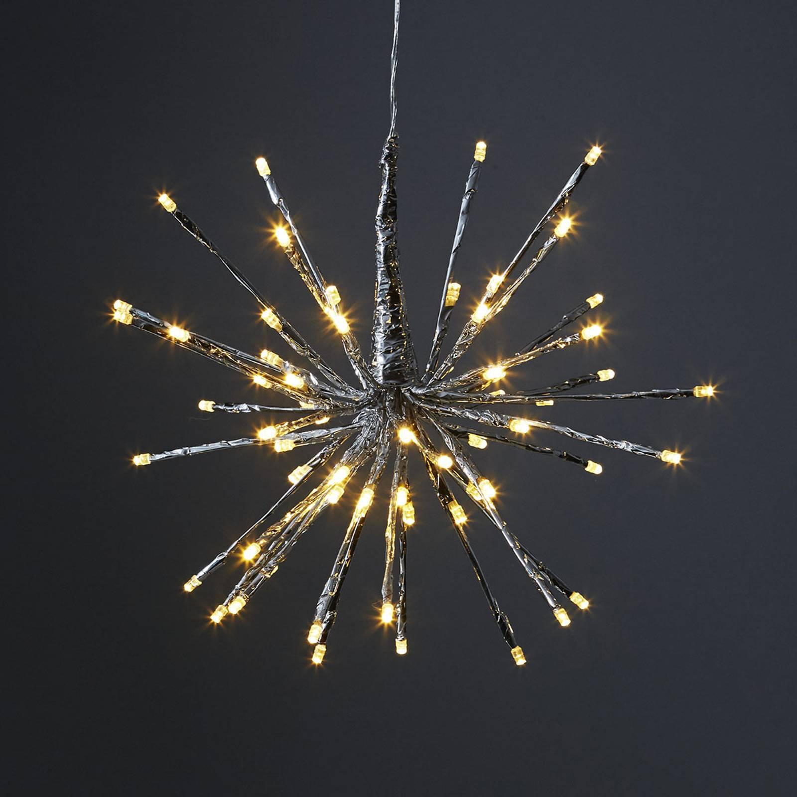 8 lysvarianter - LED-dekorlampe Firework sølv
