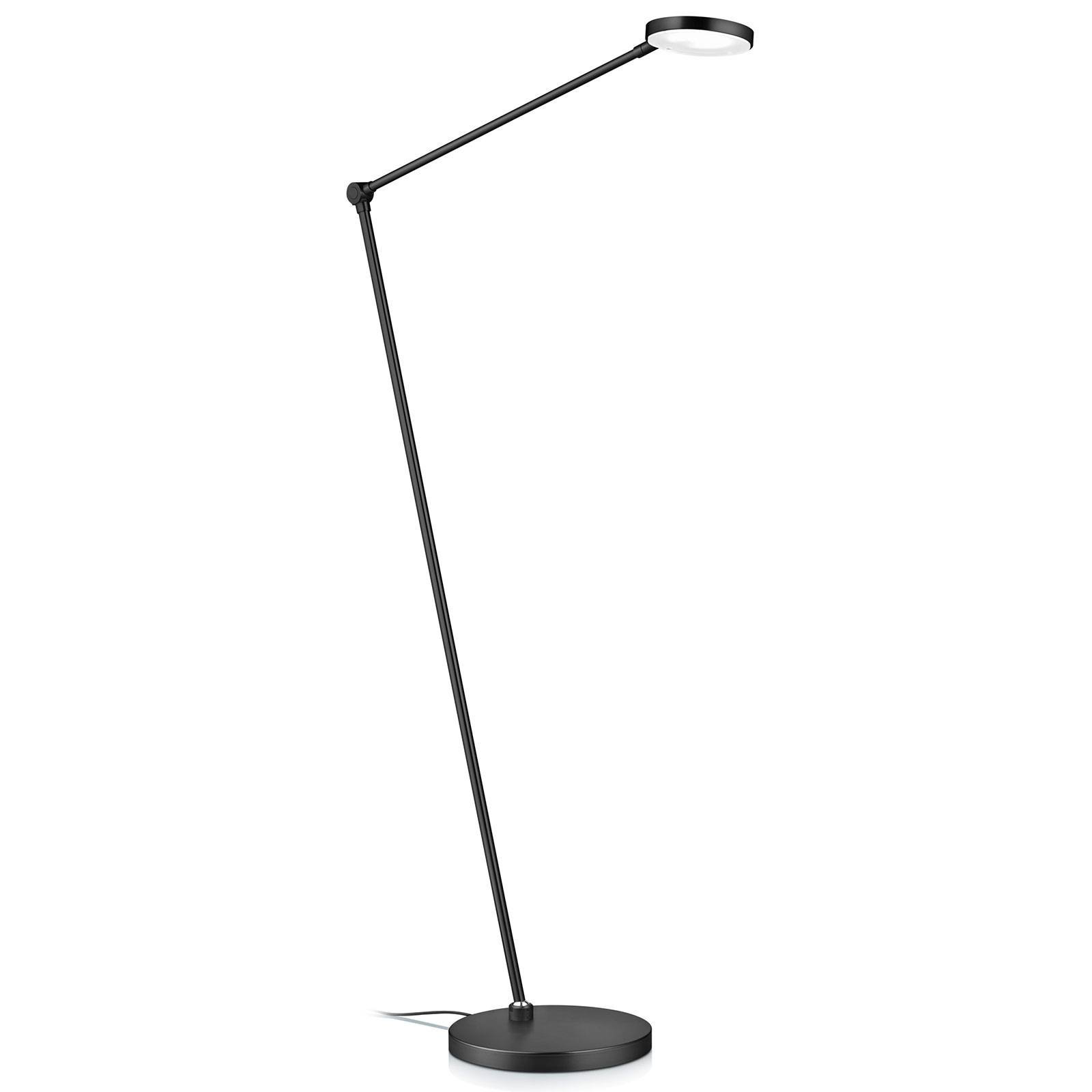 LED-gulvlampe Thea-S, bevegelsesstyring, svart