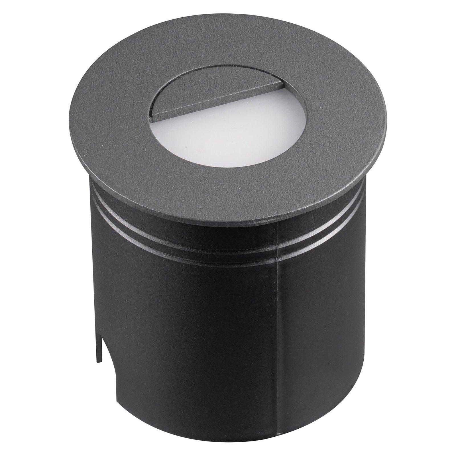 Aspen LED-innfellingslampe med spreder, rund, grå