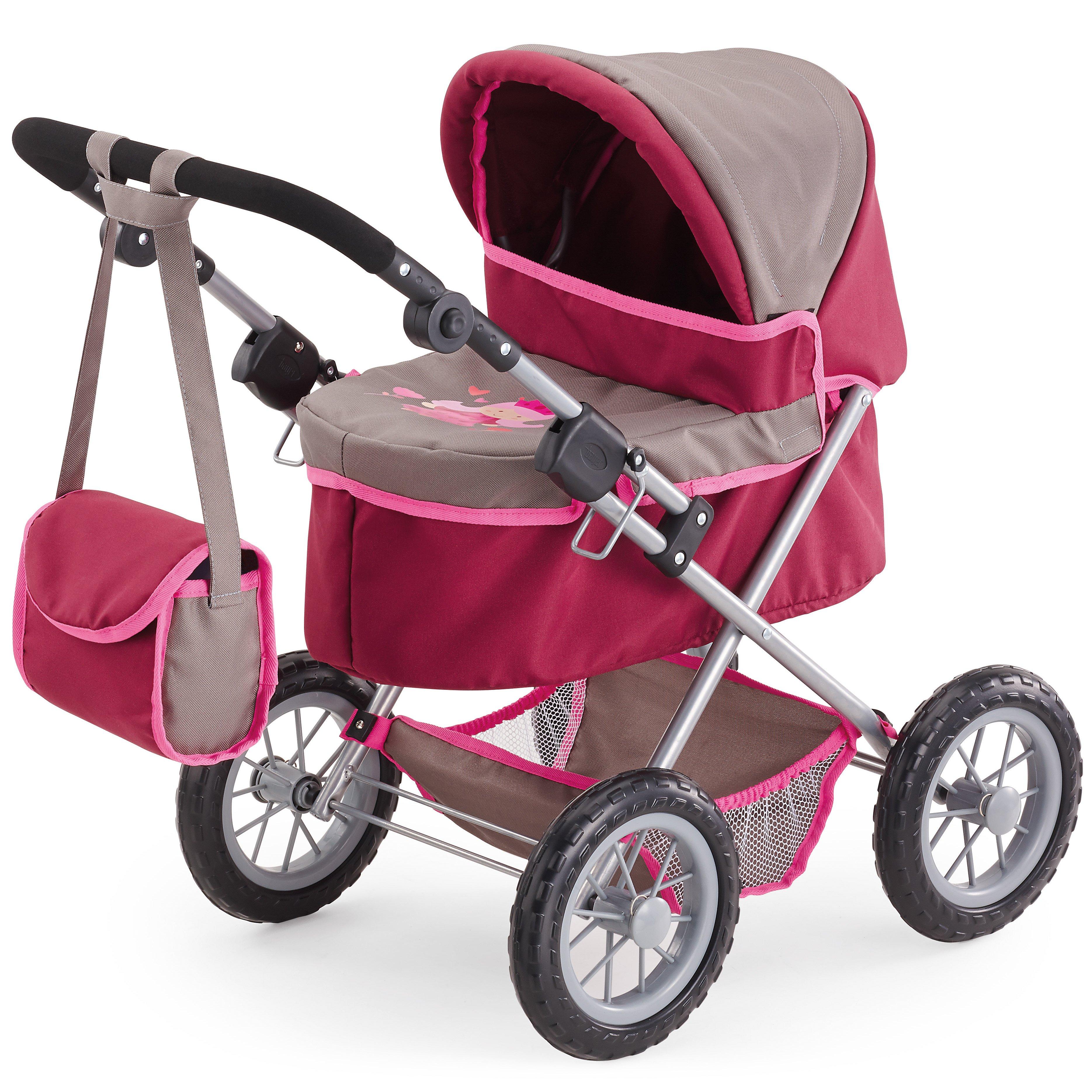 Bayer - Dolls Pram - Trendy - Pink/Grey (13078AA)