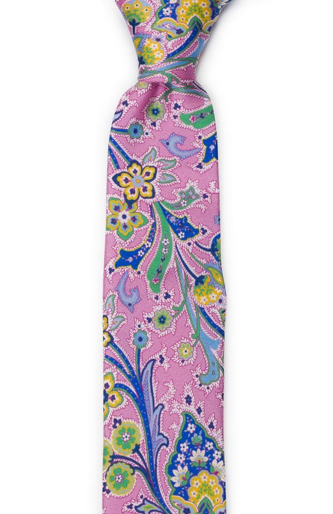 Silke Smale Slips, Flerfargete blomster på rosa med grønn kanting