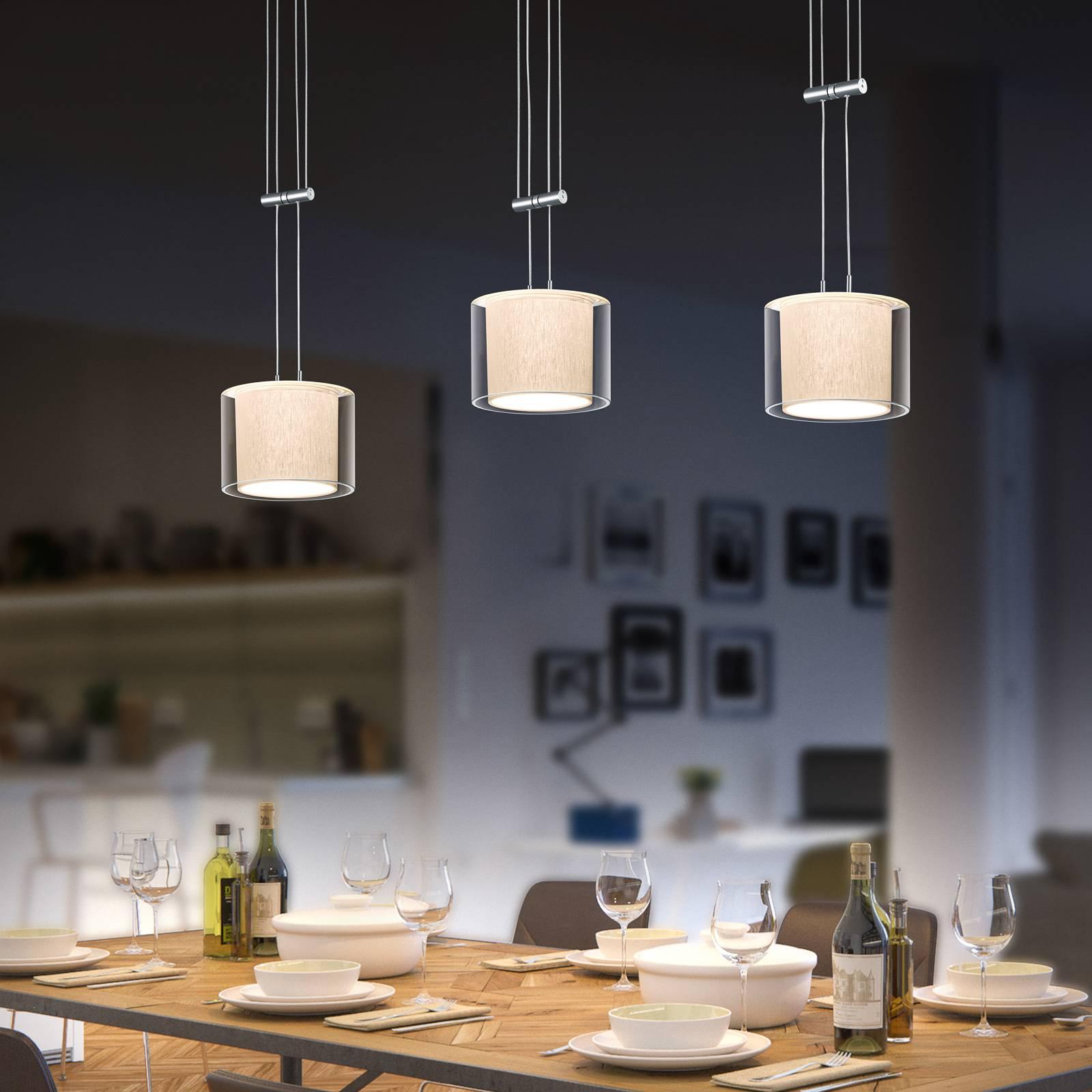 BANKAMP Cecil LED-riippuvalaisin, kolmilamppuinen