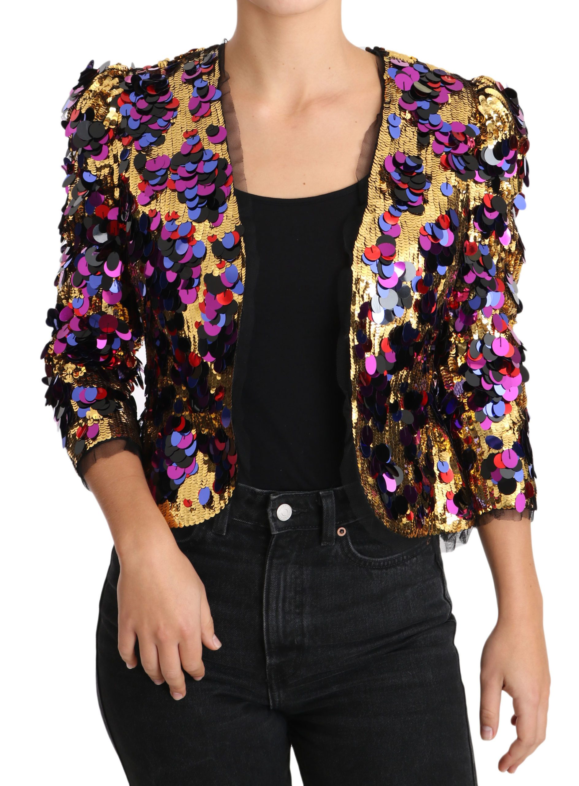 Dolce & Gabbana Women's Sequined Blazer Jacket Gold JKT2421 - IT40|S
