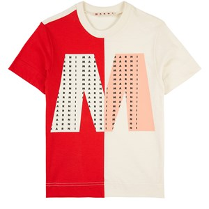 Marni Branded Colorblock T-shirt Gräddvit 4 år
