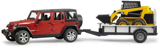 Bruder Jeep Wrangler Unlimited Med Tilhenger Og CAT Kompaktlaster