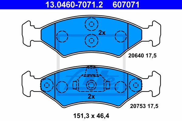 Jarrupalasarja, levyjarru ATE 13.0460-7071.2