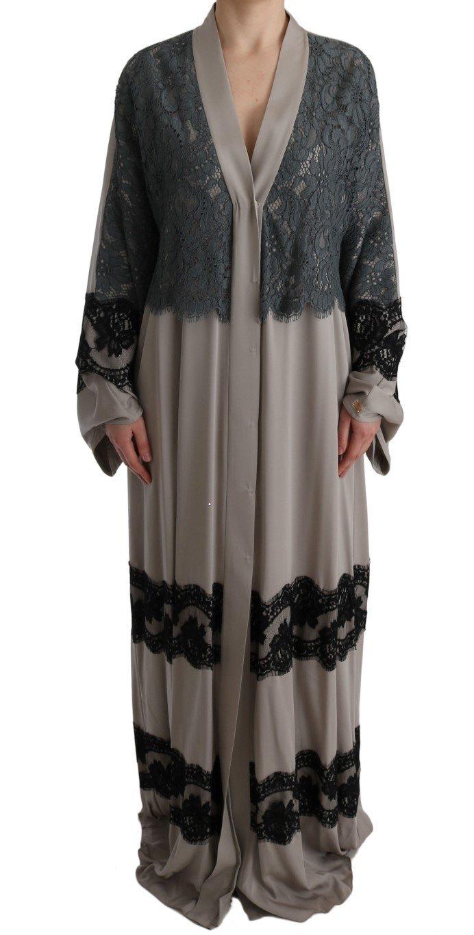 Dolce & Gabbana Women's Floral Applique Kaftan Dress Gray SIG60587 - IT42 M