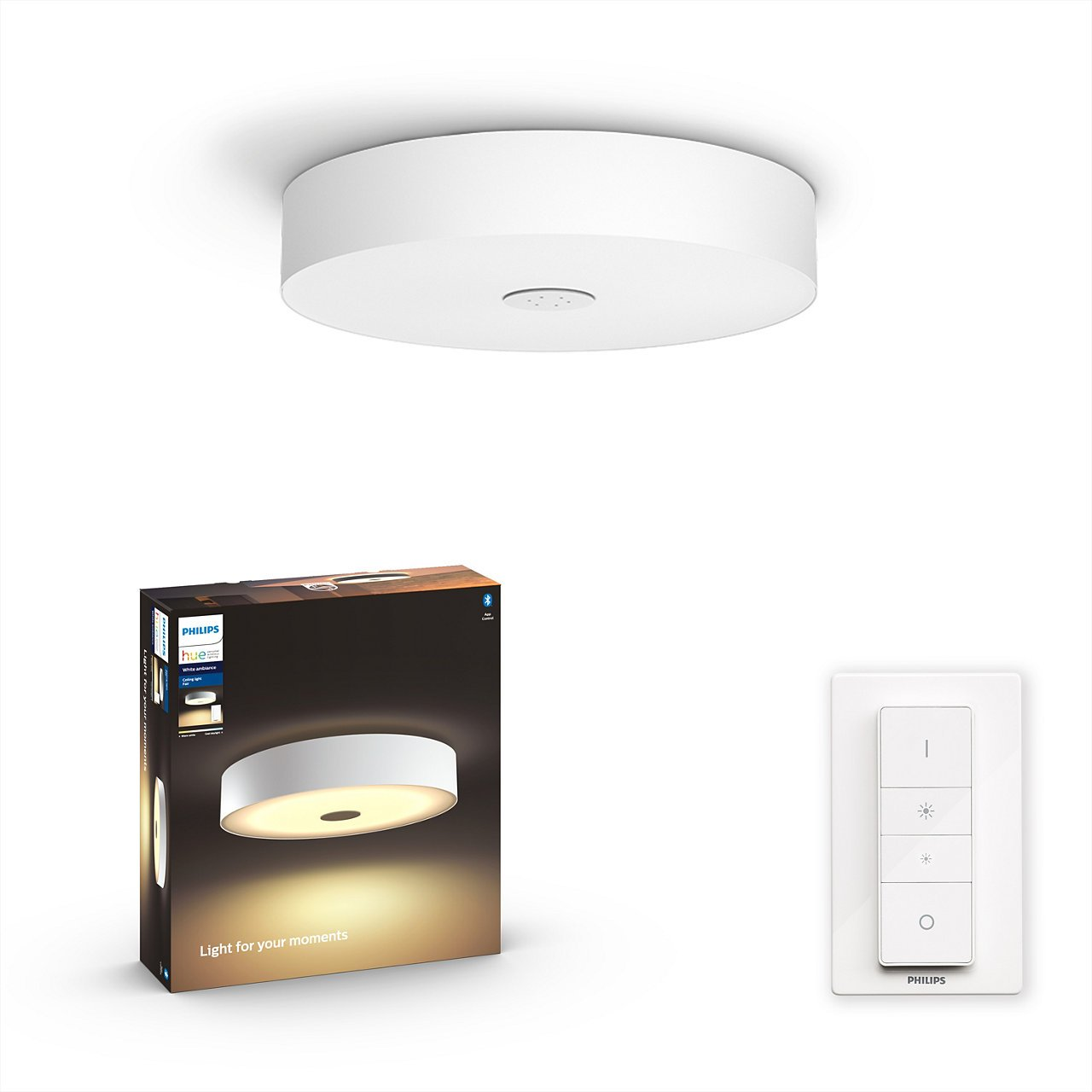 Philips Hue - Fair Hue Ceiling Lamp White - White Ambiance - Bluetooth Included Dimmer