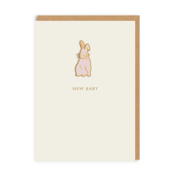New Baby Bunny Enamel Pin Greeting Card