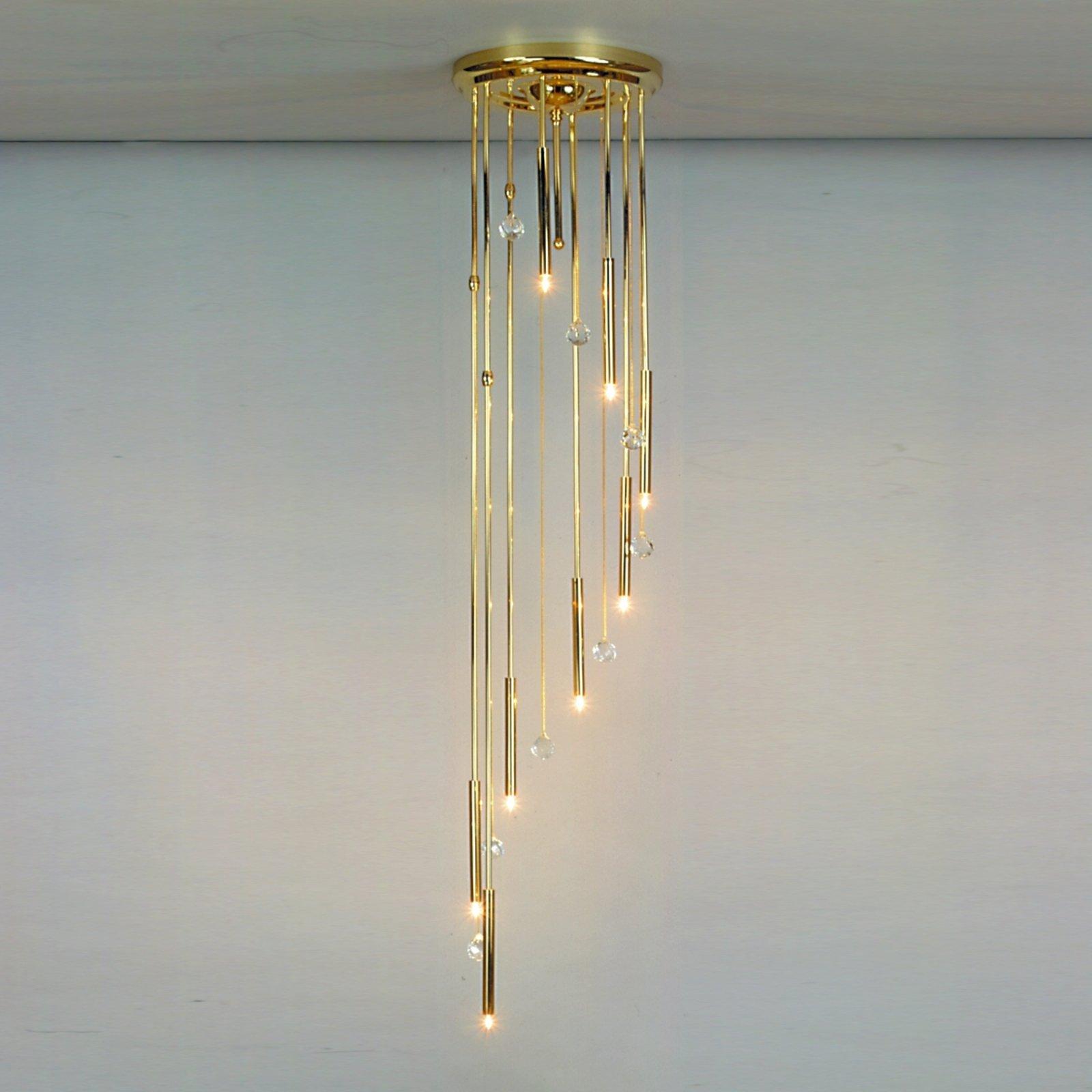 SPIRALE taklampe i gull med åtte lys