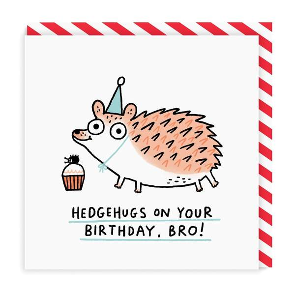 Brother Hedgehugs Birthday Square Greeting Card