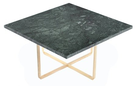 Ninety 60x60 sofabord - Grønn indio/messingstomme
