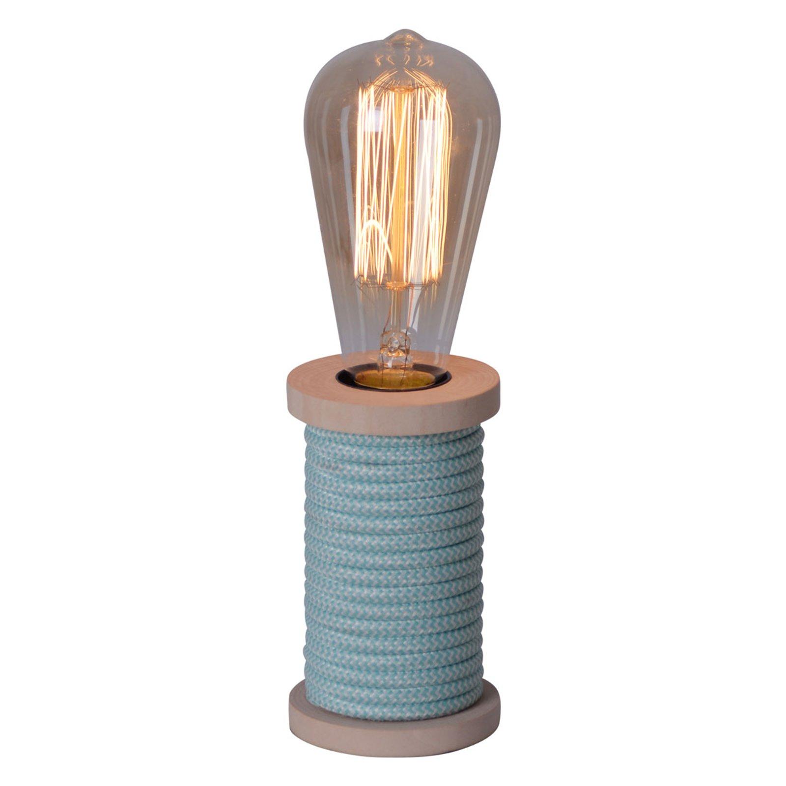 Bordlampe Max med fot i tre blå
