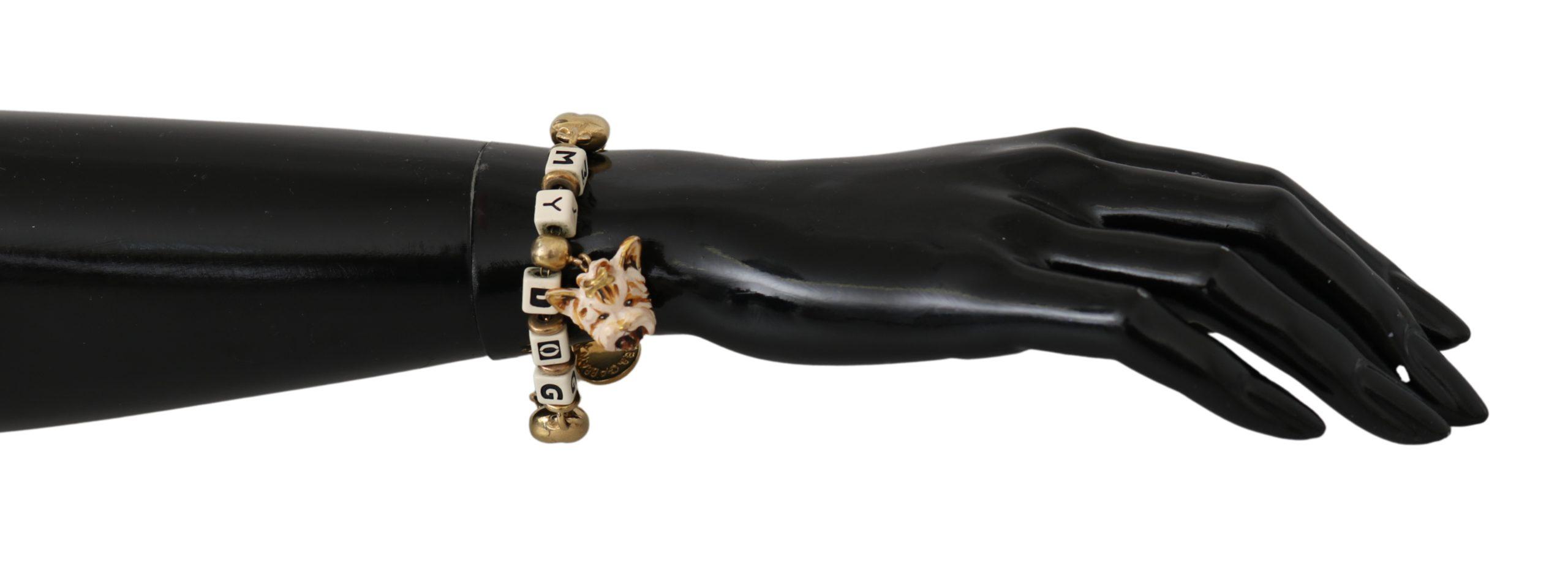 Dolce & Gabbana Women's DOG Charms Statement Bracelet Gold SMY10025