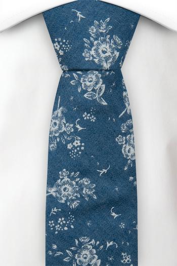 Bomull Smale Slips, Myke, hvite roser på denimblått, Blå, Blomster