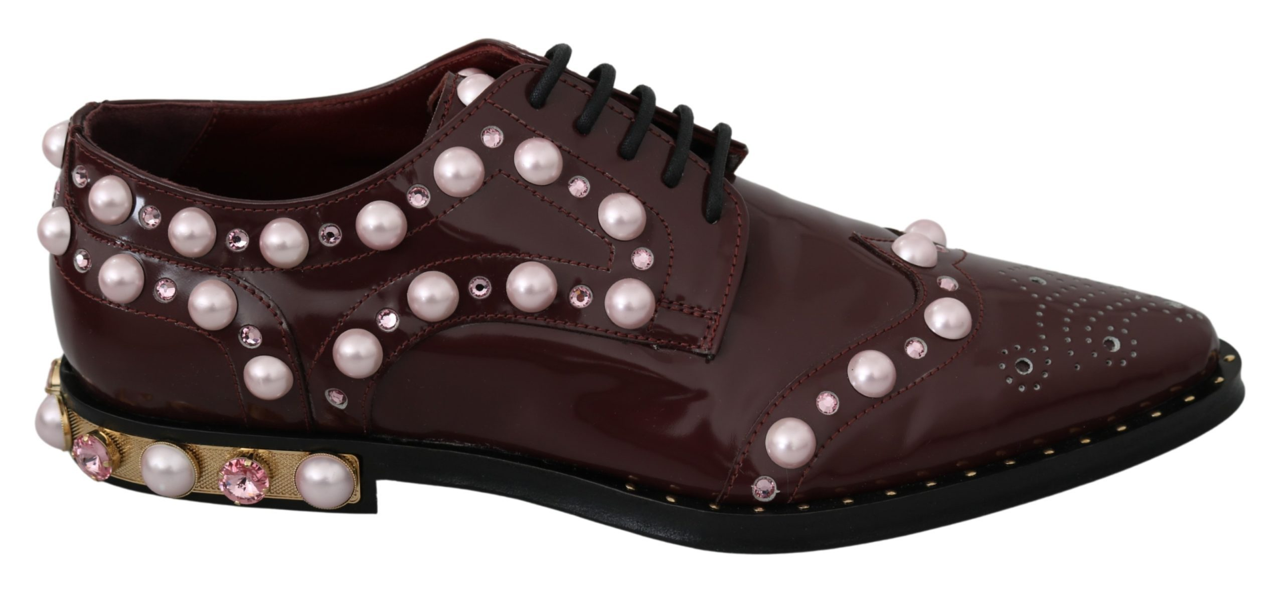Dolce & Gabbana Women's Leather Crystal Pearls Formal Shoes Bordeaux LA6911 - EU39/US6