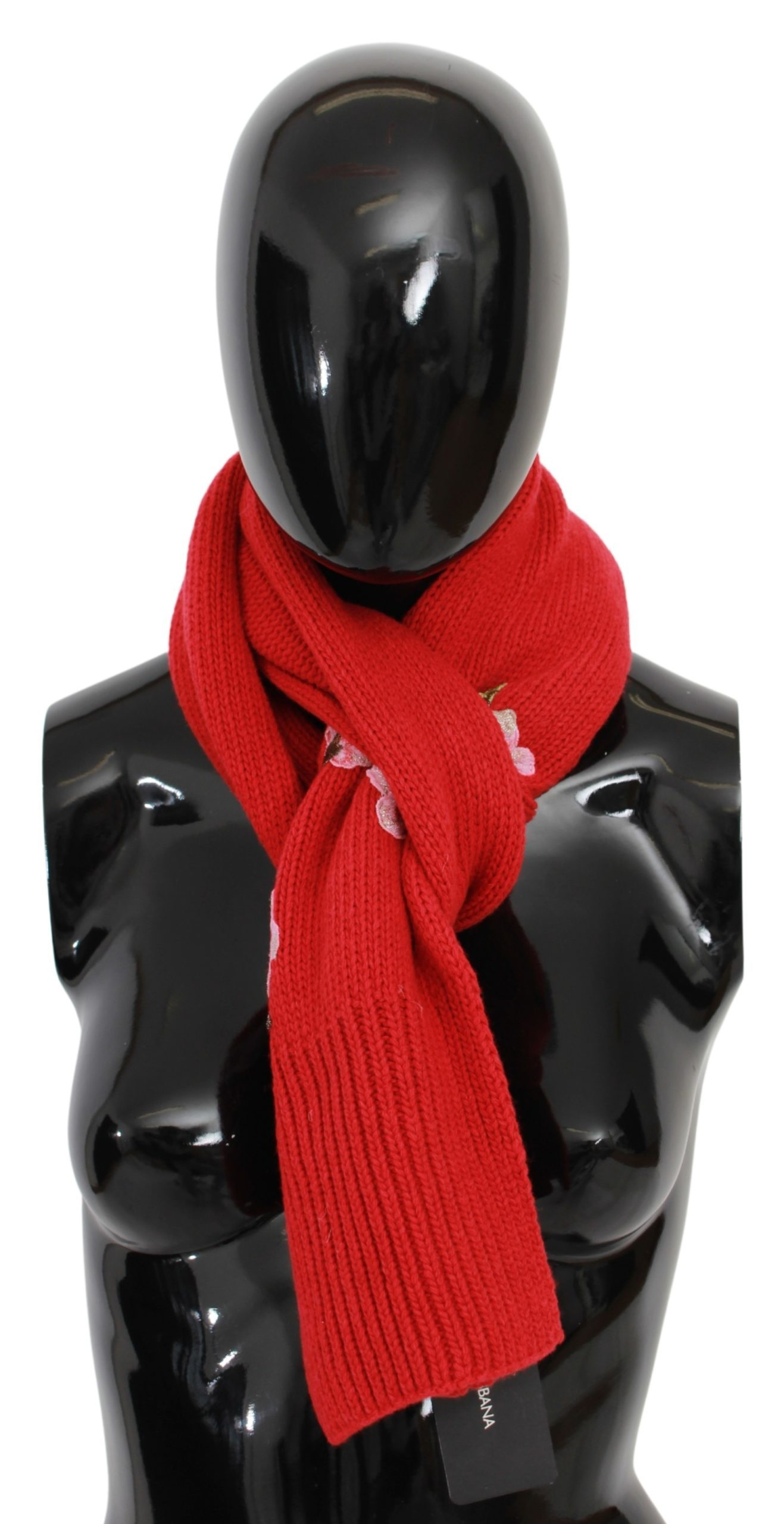 Dolce & Gabbana Women's Floral Embroidered Wrap Cashmere Scarf Red MS1678