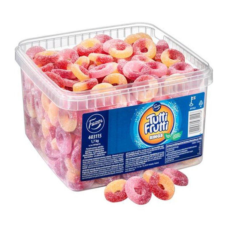 """Karkkilaatikko """"Tutti Frutti Rings"""" 1,7kg - 20% alennus"""