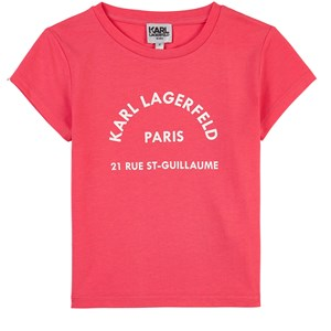 Karl Lagerfeld Kids Logo T-shirt Raspberry Pink 4 år