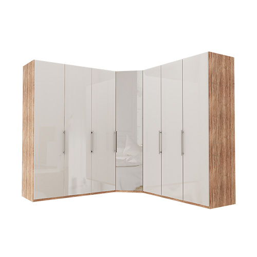 Garderobe Atlanta - Lys rustikk eik 150 + hjørne + 150, 216 cm