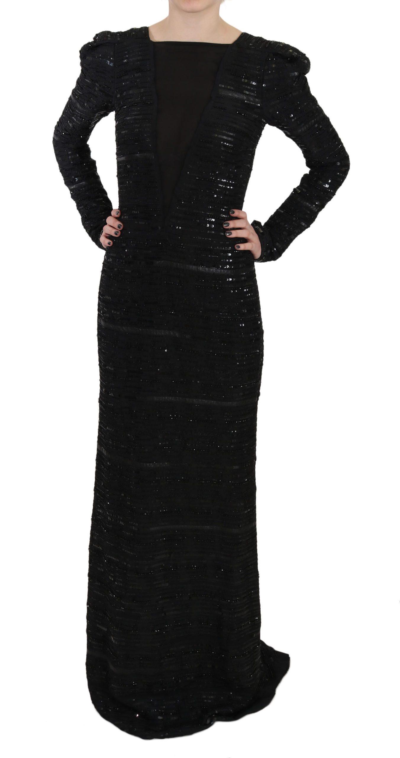 John Richmond Women's Silk Full Length Sequined Gown Dress Black DR1670 - IT40|S