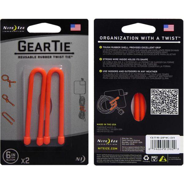 Nite Ize Gear Tie 6 Vaier 2-pakning oransje