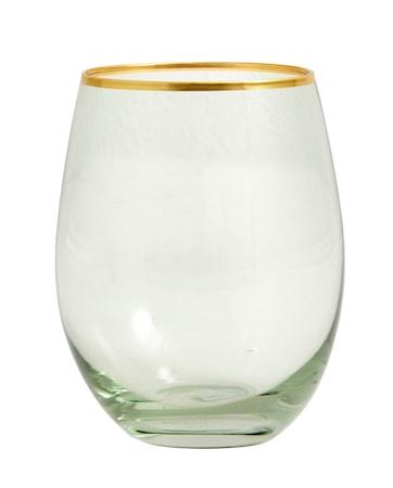 Greena Vattenglas med guld detalj