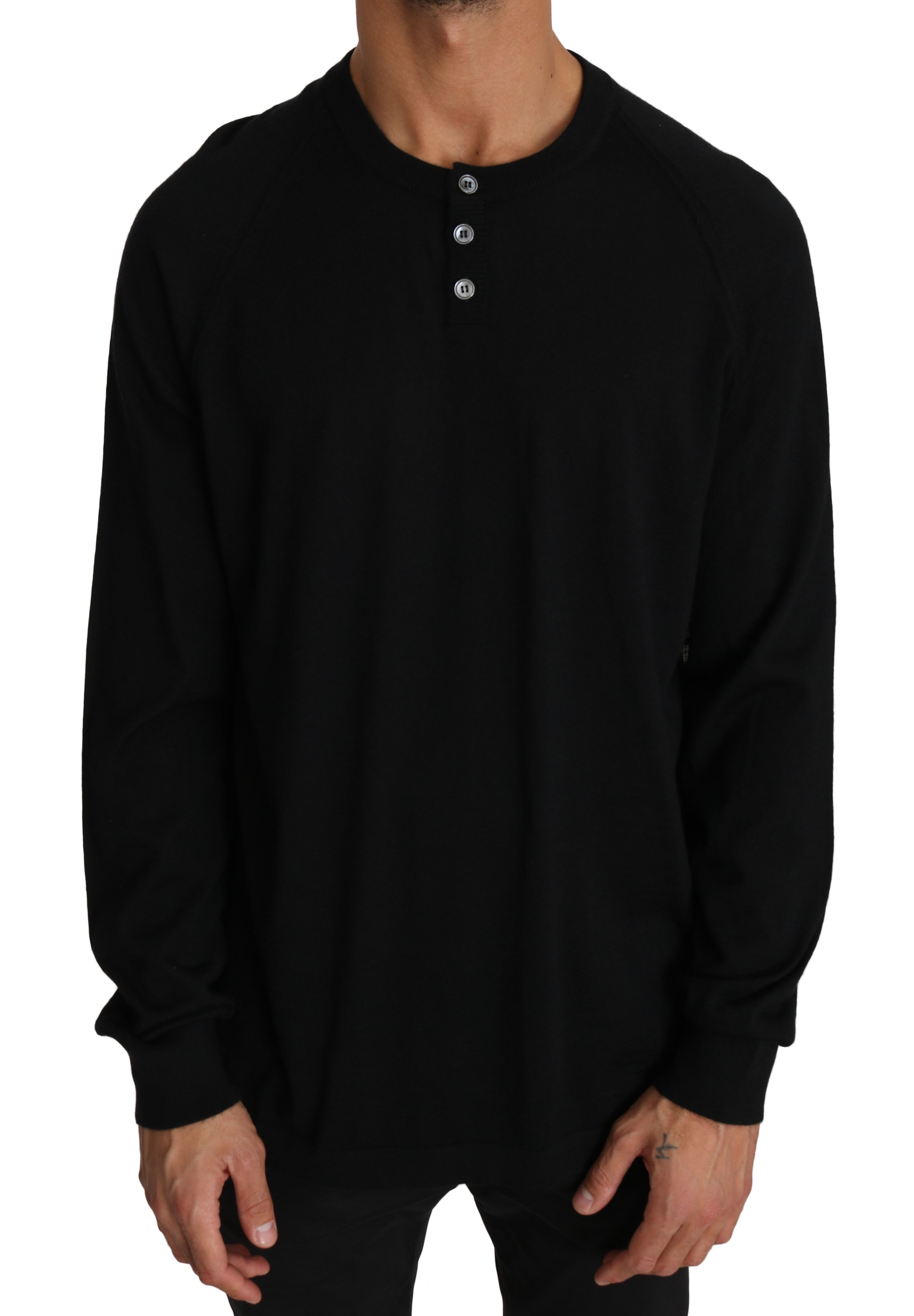 Dolce & Gabbana Men's Cashmere Music Print Pullover Sweater Black TSH2629 - IT54   XXL