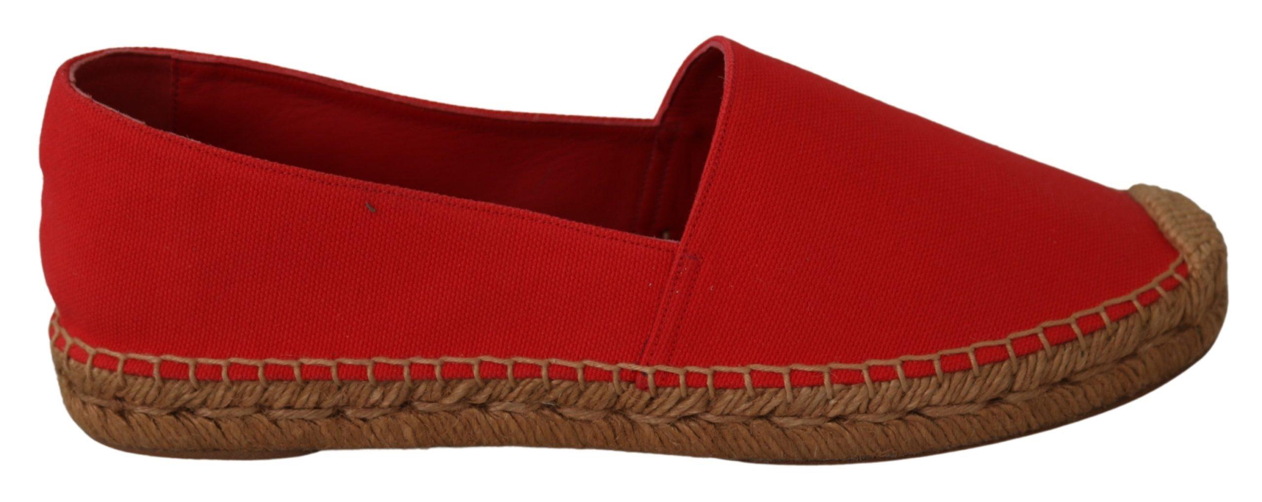 Red Flats Espadrilles Loafers Linen Shoes - EU39/US8.5