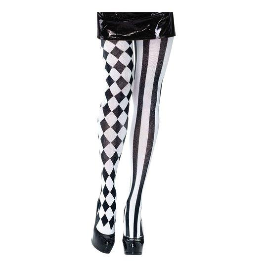 Harley Quinn Svart/Vita Tights - One size