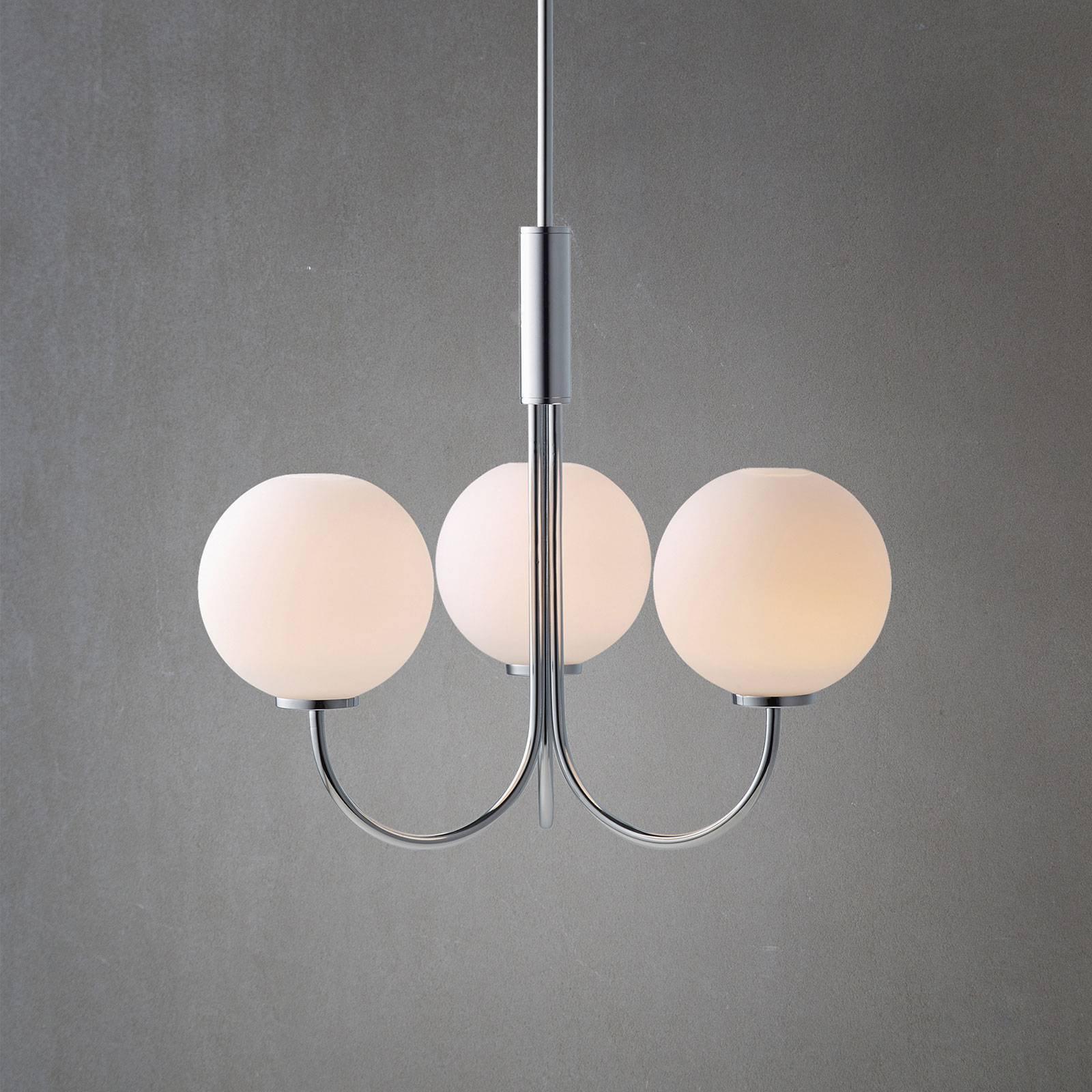 Lysekrone Ballon med bryter, 3 lyskilder, krom