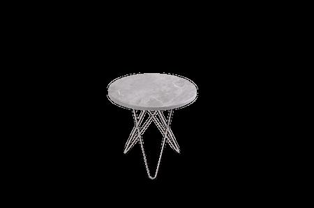 Tall Mini O Table Grå Marmor Rustfri Stålramme Ø50