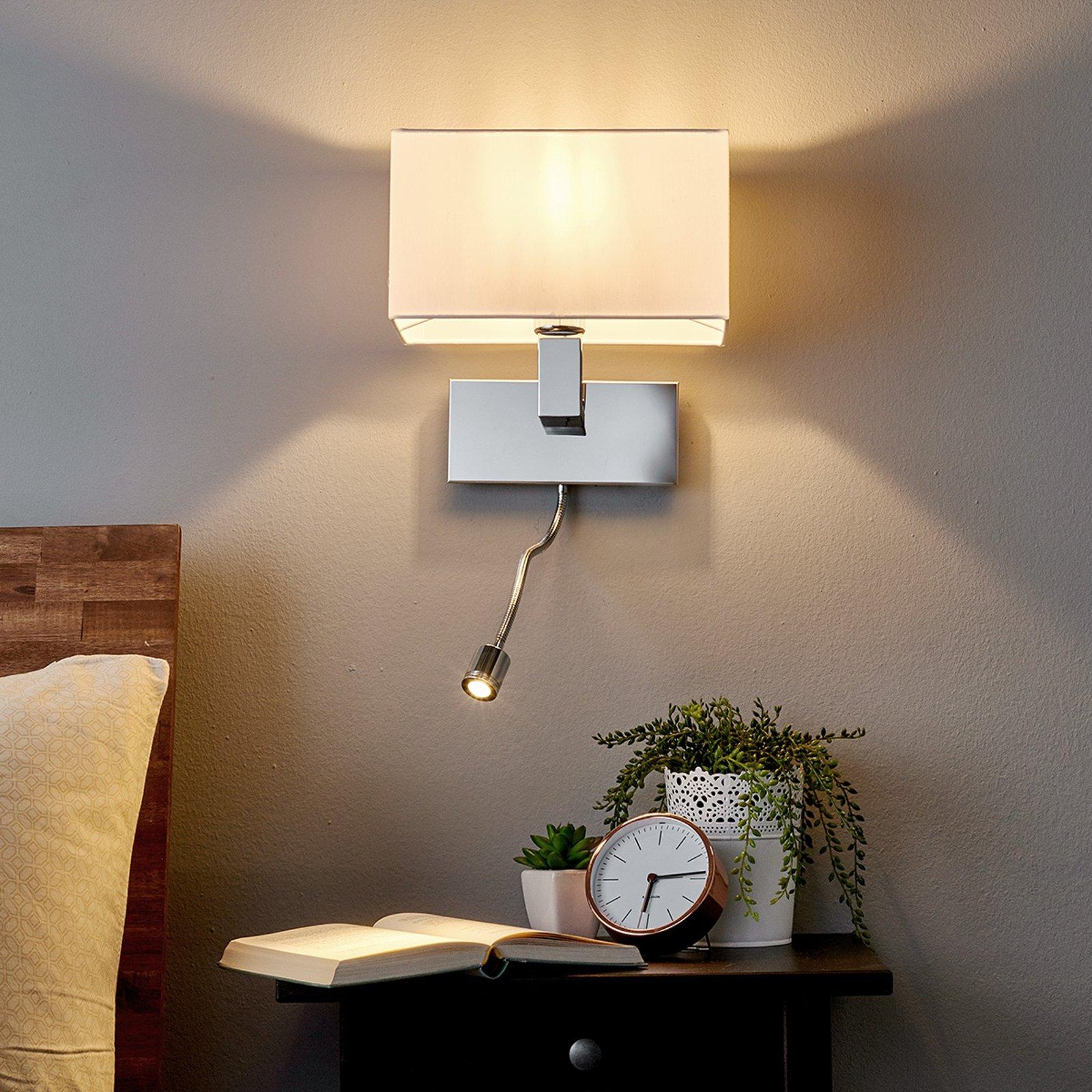 Vegglampe Tamara med stoffskjerm og LED-fleksarm