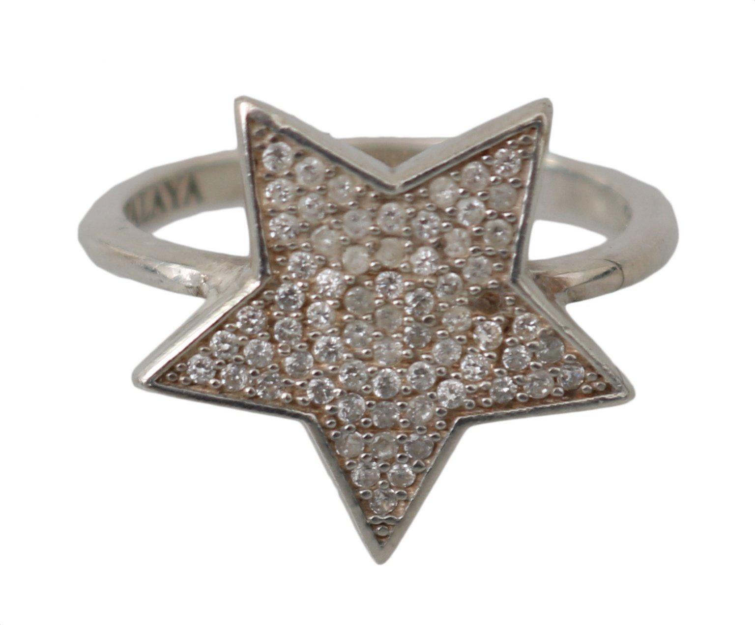 Nialaya Women's Clear CZ Star 925 Ring Silver NY102 - EU50   US5