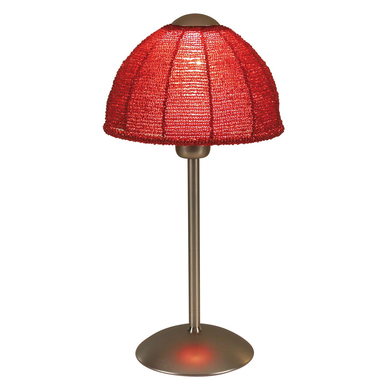 Bordlampe Pearl med rund skjerm, rød