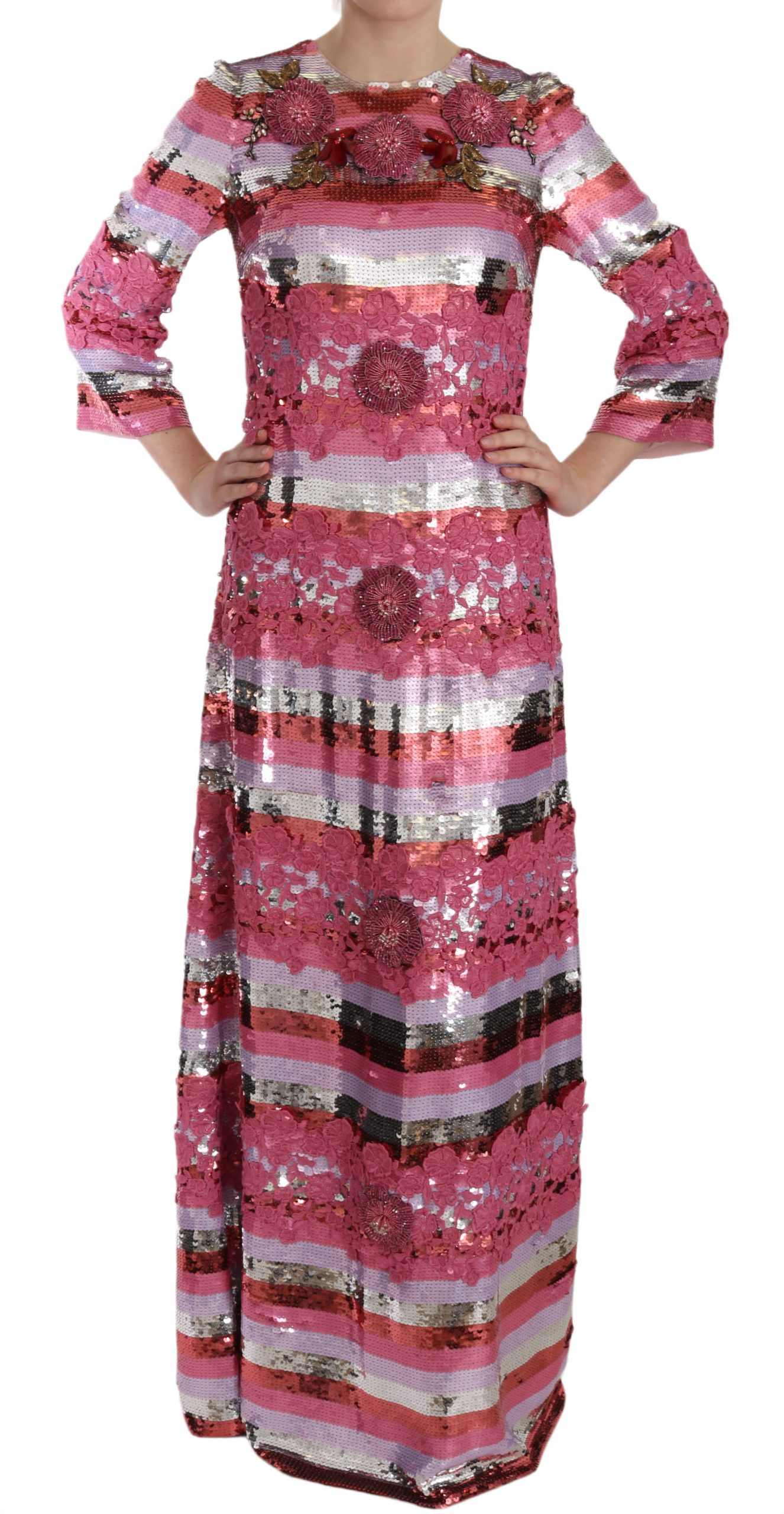 Dolce & Gabbana Women's Floral Sequined Crystal Gown Dress Pink DR1679 - IT44|L