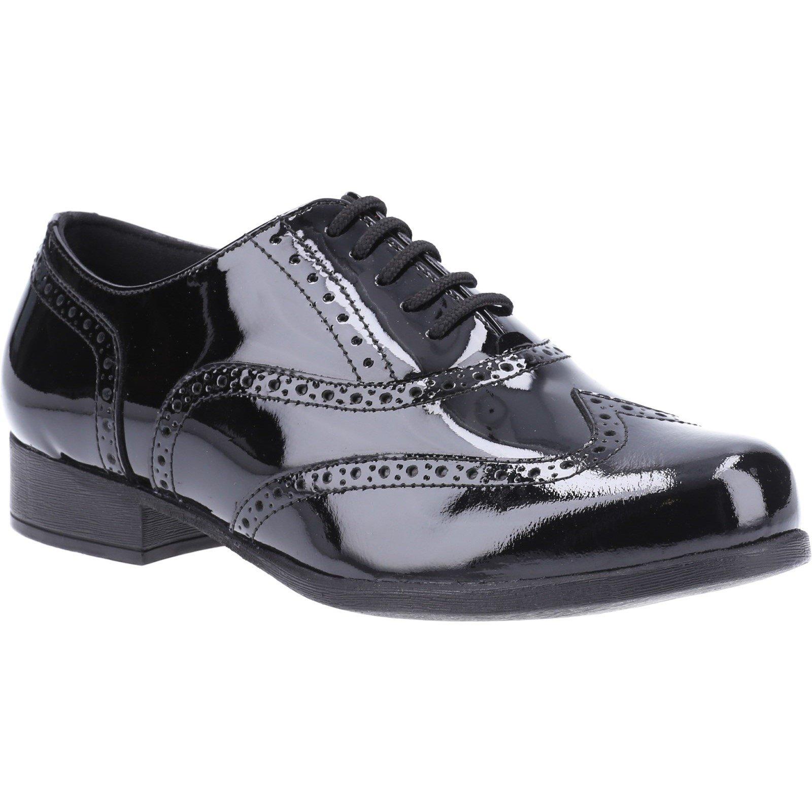 Hush Puppies Kid's Kada Junior School Brogue Shoe Patent Black 32597 - Patent Black 1