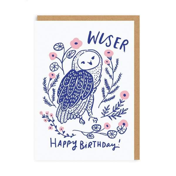 Wiser Owl Birthday Greeting Card