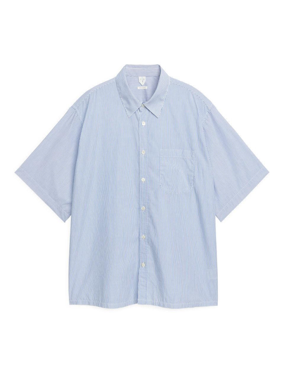 Short-Sleeved Cotton Shirt - Blue