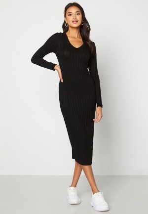Happy Holly Estella rib mid dress Black 36/38