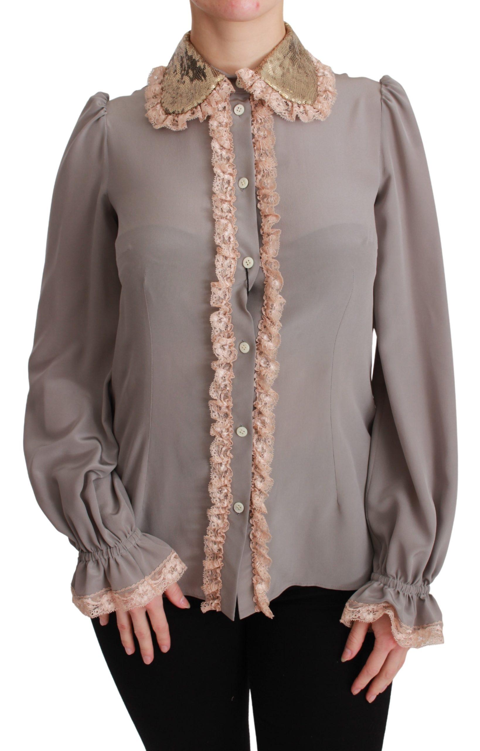 Dolce & Gabbana Women's Sequin Lace Shirt Gray TSH4664 - IT38|XS