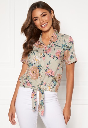 Happy Holly Vilma knot shirt Beige / Floral 48/50