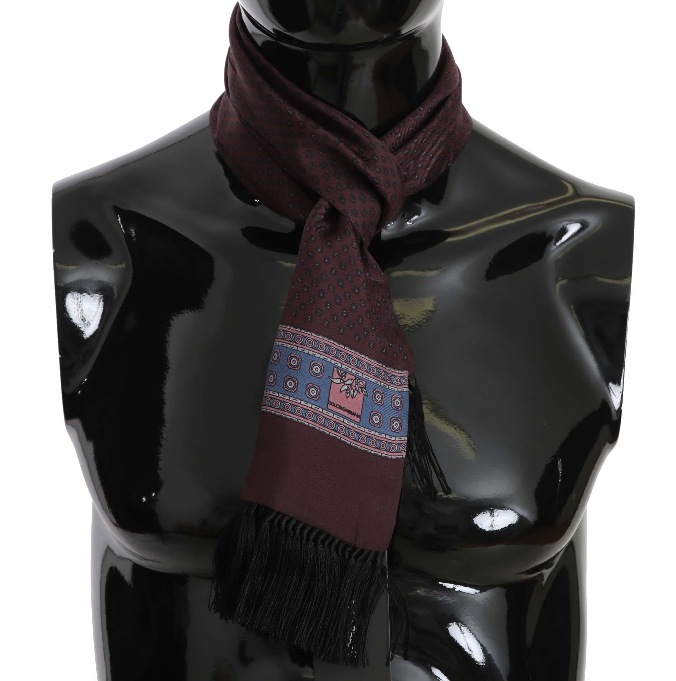 Dolce & Gabbana Men's Baroque Silk Tassel Scarf Purple MS5098