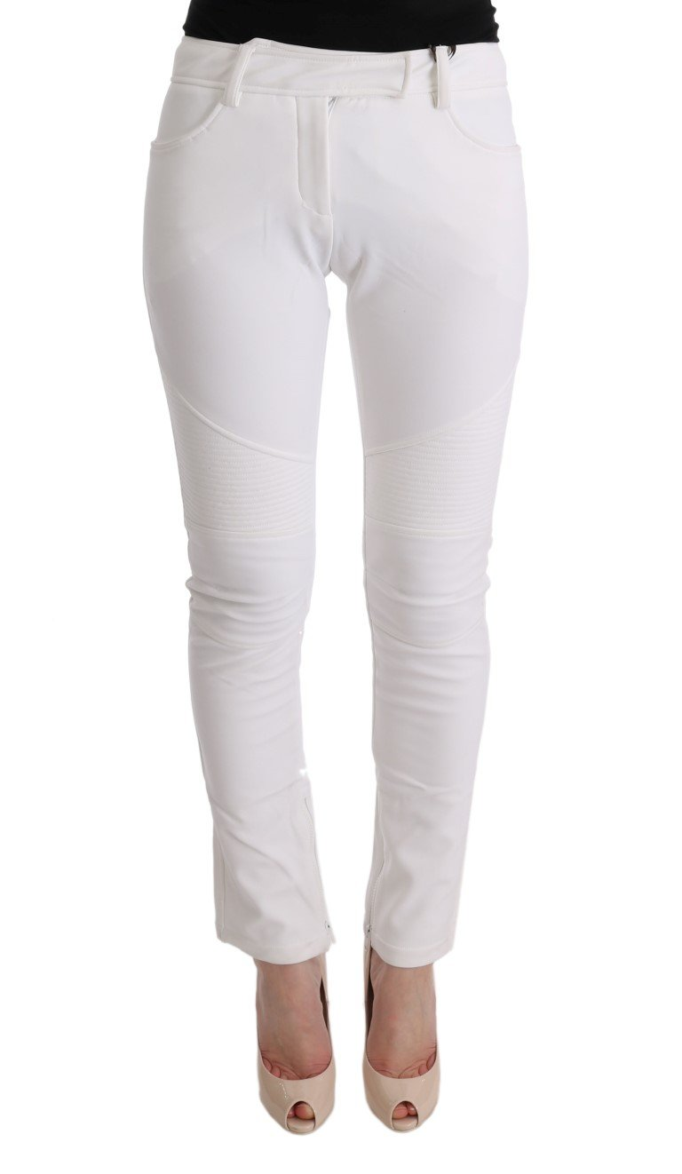Ermanno Scervino Women's Cotton Slim Fit Trouser White SIG30311 - IT40 S
