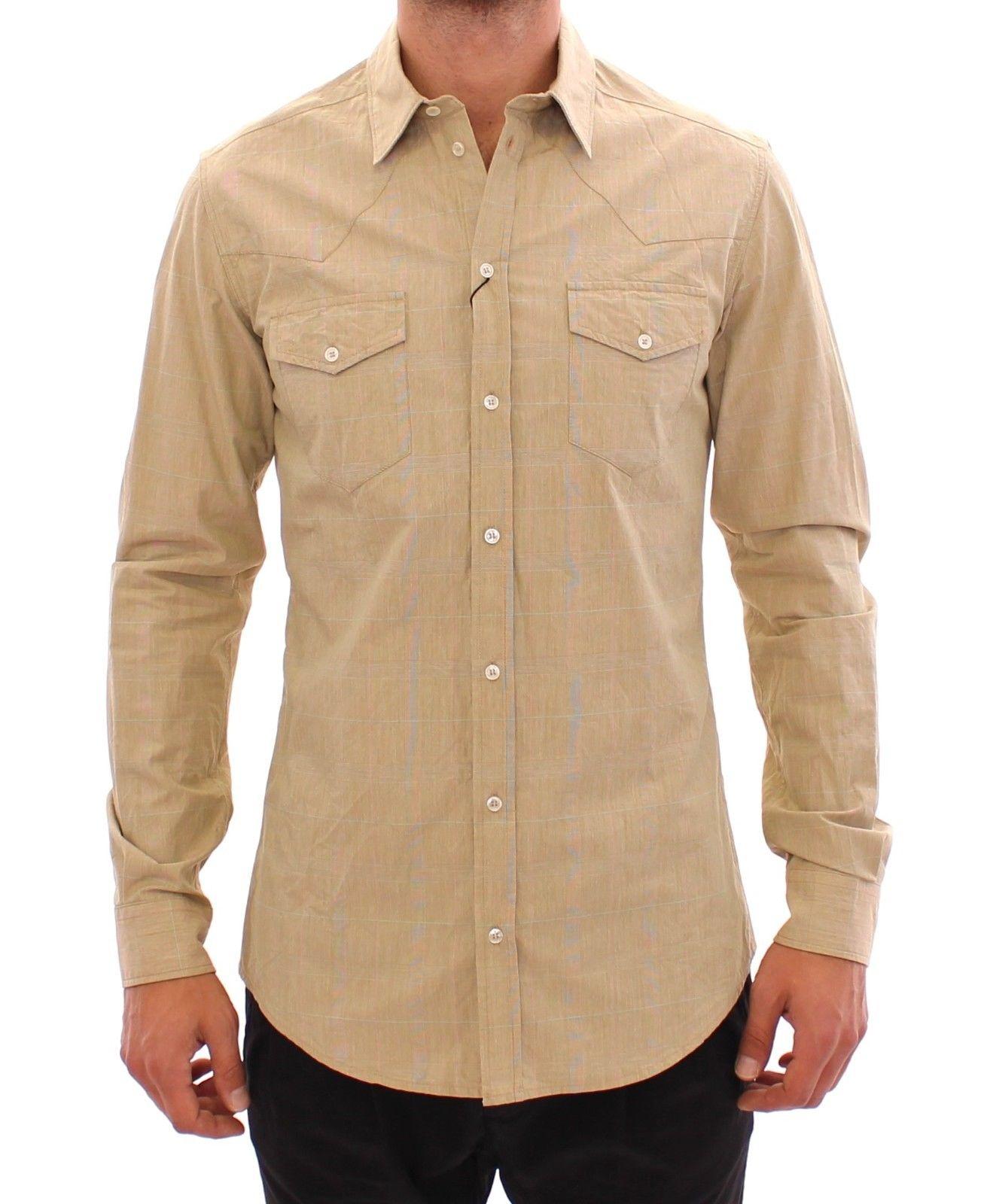 Dolce & Gabbana Men's Checkered Fit Logo Casual Shirt Beige GSS10403 - 39