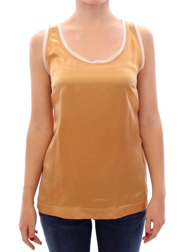Dolce & Gabbana Women's Sleeveless Silk Tops Yellow GSS11432 - IT42 M
