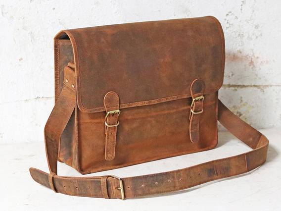 Boys And Girls Large Vintage Leather Satchel 16 Inch Brown 16 Inch